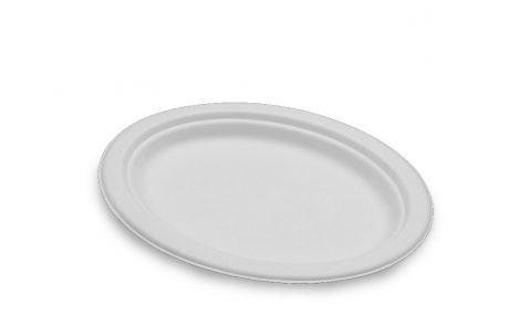 Piatto piano ovale biodegradabile Rosati Carta