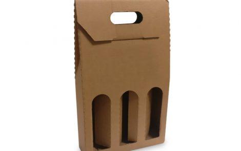 Scatola porta bottiglia in cartone avana triplo scomparto Rosati Carta