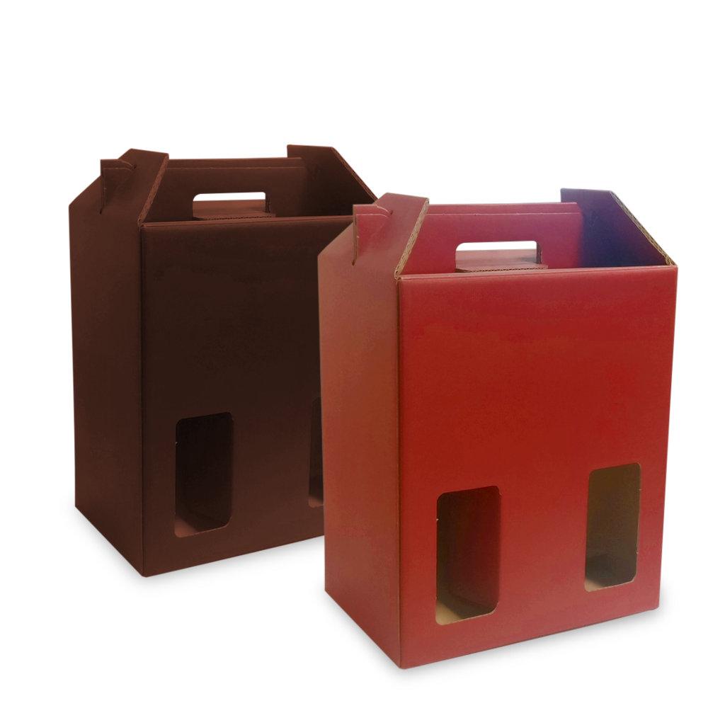Scatole porta bottiglie vino colorate sei scomparti con finestra vari colori rosati carta - Porta bottiglie ...