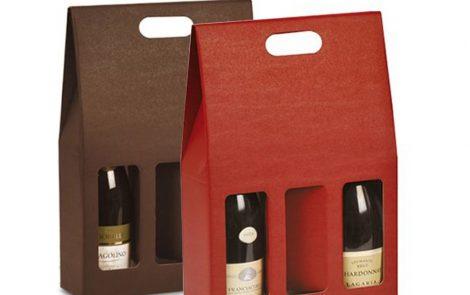 Scatola porta bottiglia colorato triplo scomparto Rosati Carta