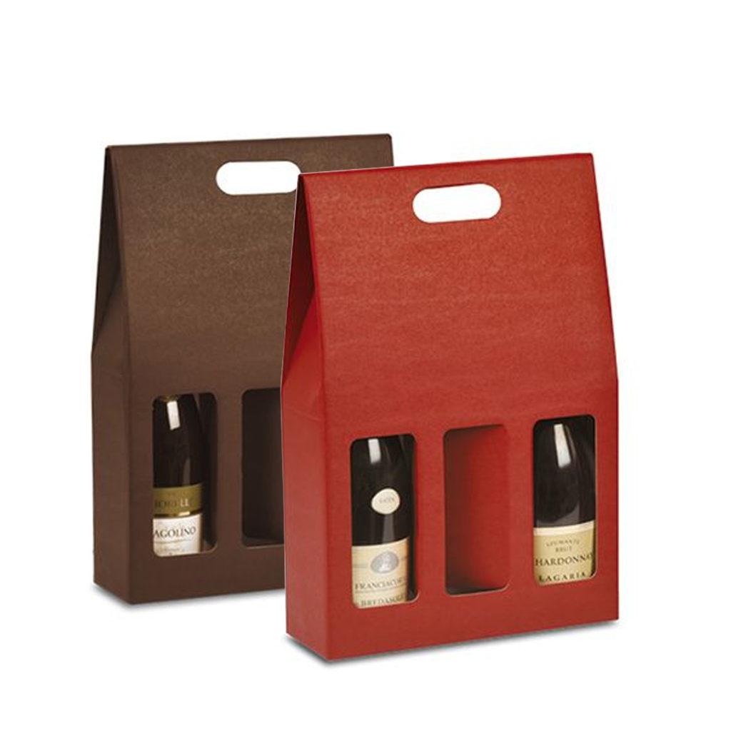 Scatole porta bottiglie vino colorate triplo scomparto con finestra vari colori rosati carta - Porta bottiglie ...