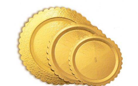 Piatti ala tondi pasticceria oro Rosati Carta