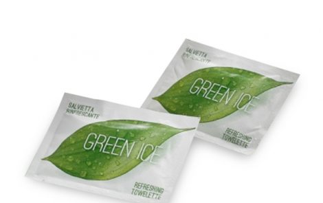 Salviette umide rinfrescanti Green Ice al the verde Rosati Carta