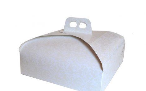 Scatole porta dolci bianco rettangolare damascata Rosati Carta