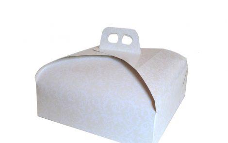 Scatole porta dolci bianco quadrate damascata Rosati Carta