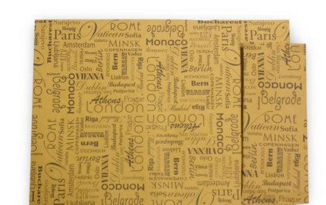 Tovagliette 30x40 modello Città con nomi città in carta gialla con portaposate Rosati Carta