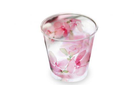 Bicchiere fiori rosa kristal righe coordinati extra Rosati Carta