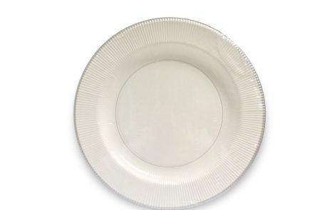 Piatto piano dessert bianco riga argento righe coordinati extra Rosati Carta