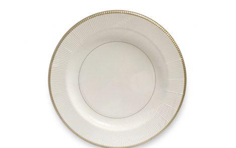 Piatto piano dessert bianco riga oro righe coordinati extra Rosati Carta