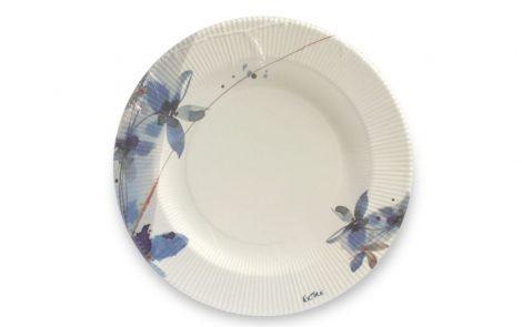 Piatto piano dessert fiori blu righe coordinati extra Rosati Carta