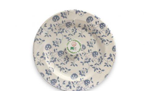 Piatto piano dessert natura blu righe coordinati extra Rosati Carta