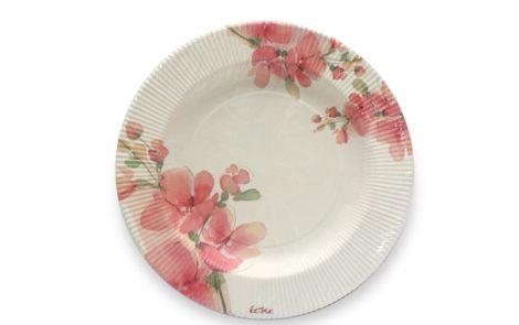 Piatto piano dessert fiori rosa righe coordinati extra Rosati Carta