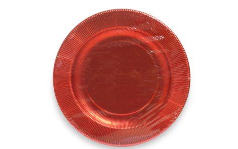 Piatto piano dessert rosso lucido righe coordinati extra Rosati Carta