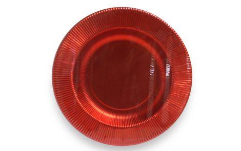 Piatto fondo rosso lucido righe coordinati extra Rosati Carta