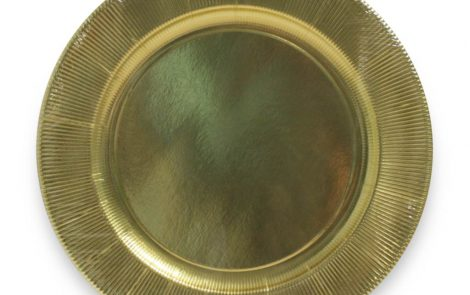 Piatto piano grande oro righe coordinati extra Rosati Carta