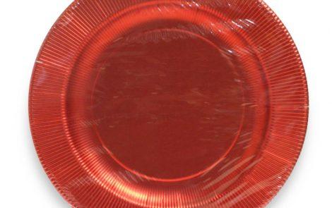 Piatto piano grande rosso lucido righe coordinati extra Rosati Carta