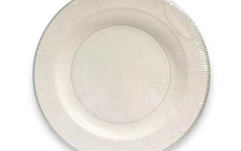 Piatto piano bianco riga argento righe coordinati extra Rosati Carta