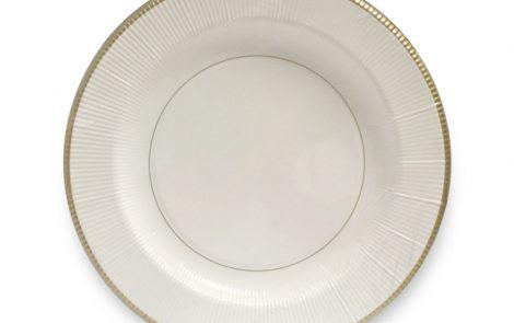 Piatto piano bianco riga oro righe coordinati extra Rosati Carta