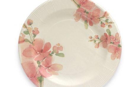 Piatto piano fiori rosa righe coordinati extra Rosati Carta