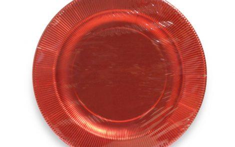 Piatto piano rosso lucido righe coordinati extra Rosati Carta