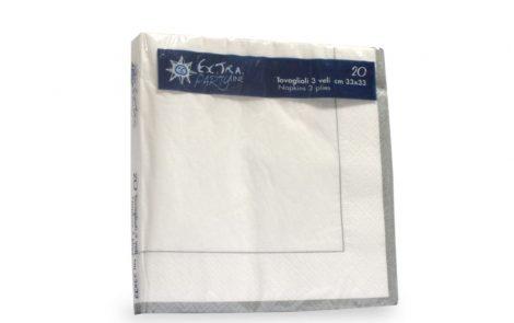 Tovaglioli bianchi riga argento coordinati extra Rosati Carta