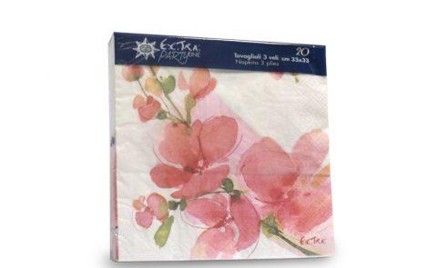 Tovaglioli trama fiori rosa coordinati extra Rosati Carta