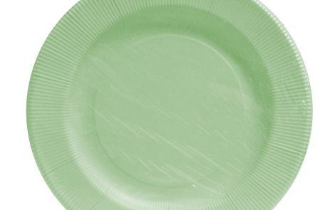 Piatto piano grande verde salvia righe coordinati extra Rosati Carta