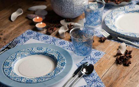 Set piatti e bicchieri arabesque coordinati extra righe Rosati Carta