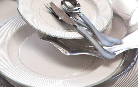 Set piatti e bicchieri argento coordinati extra righe Rosati Carta