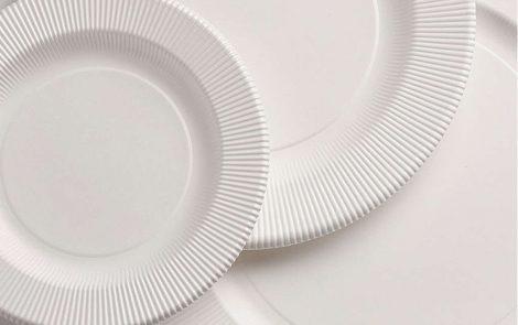 Set piatti e bicchieri avorio coordinati extra righe Rosati Carta