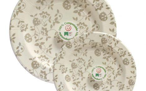 Set piatti e bicchieri natura taupe coordinati extra righe Rosati Carta