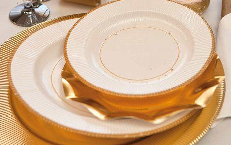 Set piatti e bicchieri oro coordinati extra righe Rosati Carta