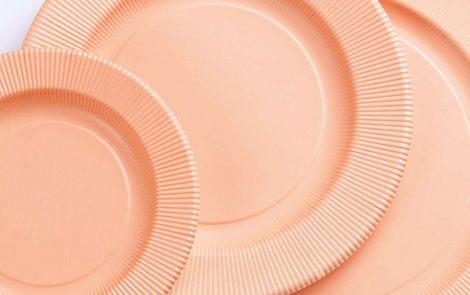Set piatti e bicchieri pesca coordinati extra righe Rosati Carta