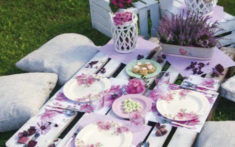 Set piatti e bicchieri fiori rosa coordinati extra righe Rosati Carta
