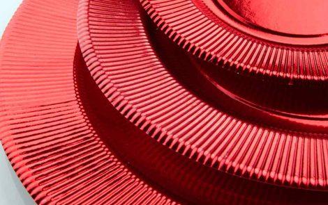 Set piatti e bicchieri rosso lucido coordinati extra righe Rosati Carta
