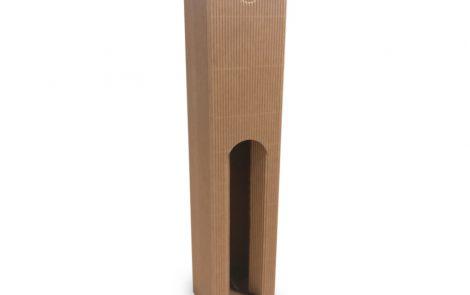 Porta bottiglie avana zigrinato singolo scomparto da 500 ml con finestra Rosati Carta