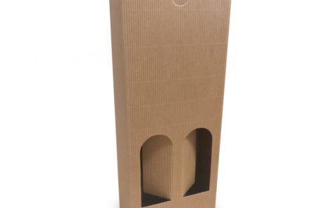 Porta bottiglie avana zigrinato a doppio scomparto da 500 ml Rosati Carta