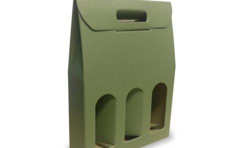 Portabottiglia verde triplo scomparto Olivia Rosati Carta