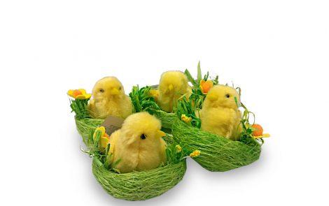 Pulcini in nido verde decorativi Rosati Carta